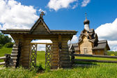 Wooden church gate — Stock Photo