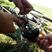 Repairing bicycle — Stock Photo