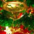 Glass of wine with Christmas decoration — Stock Photo