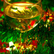 Stock Photo: Wineglass with Christmas decoration