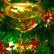 Wineglass with Christmas decoration — Stock Photo #13740690