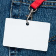 Blank badge in a pocket - Zdjcie stockowe