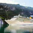 Stock Photo: Cruise ship in fiord