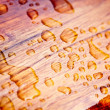 Stock Photo: Rain drops on sealed wood