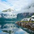 Motorhomes at Norwegian campsite — Stock Photo #13741943