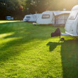 Travel trailer camping — Stock Photo