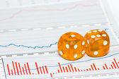 Oranžové kostky na postavy — Stock fotografie