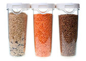 Food containers witn seeds — Stock Photo