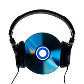 Headphones on CD — Stock Photo