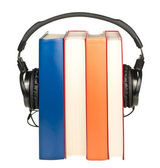 Books with headphones — Stok fotoğraf