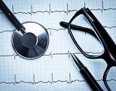 Stethoscope on EKG — Fotografia Stock