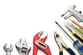 Groep gebruikte tools op witte achtergrond — Stockfoto