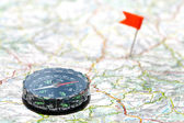 Navigation with compass — Stock Photo