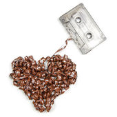 Heart shaped audio tape — Stock Photo