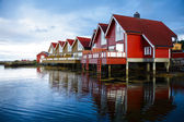 Camping cabins on a fjord — Stock Photo