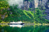 Ferryboat in fiord — Stock Photo