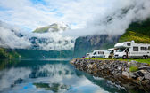 Motorhomes at Norwegian campsite — Stock Photo