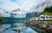 Motorhomes at Norwegian campsite — Stock Photo
