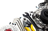 Bicycle tools and spares — Stock Photo