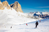 Skiers on a Piste — Stock Photo