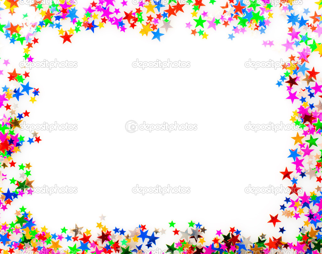 Star shaped confetti of different colors frame — Stock Photo #13740093