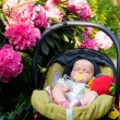 Baby sleeping in car seat — Stock Photo #14627263