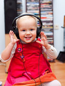 Toddler with headphones — Stock Photo