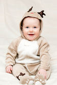 Infant in deer costume — Stock Photo