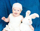 Infant with bunny — Stock Photo