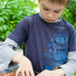 Boy playing with bricks — Stockfoto