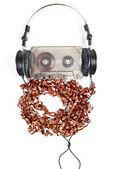 Headphones on Compact Cassette — Stock Photo