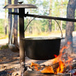 Royalty-Free Stock Photo: Cauldron over campfire