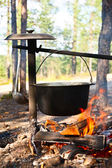 Cauldron over campfire — Stock Photo