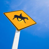 Horse rider warning road sign — Foto de Stock
