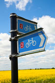 Bikeway directional sign — Stock Photo