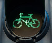 Green bicycle traffic light — Stock Photo