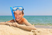 Boy on a beach — Stock Photo