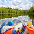 Rafters in rafting boat — Stock Photo