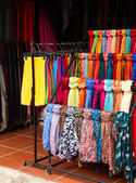 Silk clothing at a market stall — Foto de Stock