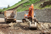Excavator  on construstion site — Stock Photo
