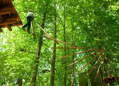 Kid in a treetop adventure park — Stock Photo