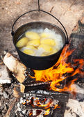 Campfire cooking — Stock Photo