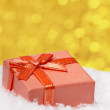 Red Christmas gift box - Stock Photo