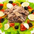 Stock Photo: Delicious salad with tuna, tomatoes, eggs, olives and peppers.