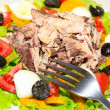 Delicious salad with tuna, tomatoes, eggs, olives and peppers. — Stock Photo