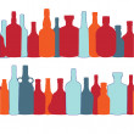 Vector illustration silhouette alcohol bottle seamless pattern — Stock Vector #13593545