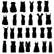 Set of dresses silhouette isolated on white background — Stock Vector #13616638