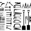 Set of power tools, shovel, drill, hammer. Vector icon. — Stock Vector #13667900