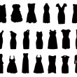 Set of dresses silhouette isolated on white background — Stock Vector