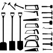 Set of power tools, shovel, drill, hammer. Vector icon. — Stock Vector